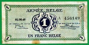 Belgium 1 Franc 1946 Banknote , VF-