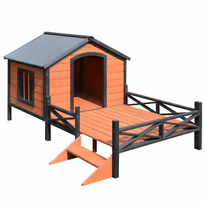 Wood Dog House Elevated Pet Shelter Large Kennel Weather Resistant Home Outdoor