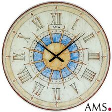 XXL AMS 9230 Wall Clock Sun Quartz Analog Office Antique Vintage Retro Shabby Ø