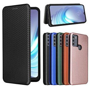 For Ulefone Note 9P / Note 11P / Note 10 Carbon Fiber Flip Leather Wallet Case