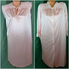 Vtg 2 Pc Henson Kickernick Large Pink Lace Cutout Peignoir Set Gown Lingerie 9a847531e