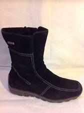Tamaris Black Ankle Suede Boots Size 39