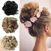 100% Natural Curly Messy Bun Hair Piece Scrunchie Real Thick Hair Extensions hi
