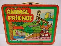VINTAGE 1978 ANIMAL FRIENDS METAL LUNCHBOX NO THERMOS OHIO ART BRYAN OHIO USA