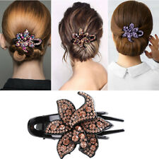 Women's Crystal Hair Clips Slide Flower Hairpin Pins Comb Hair Grips Accessories