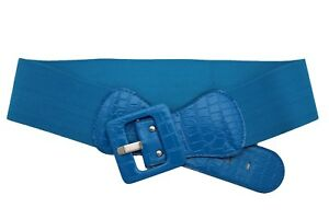 Fun Women Belt Wide Cobalt Blue Elastic Waistband Big Square Shape Buckle XS S M