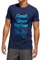 Adidas Mens T-Shirt Navy Blue Size Small S Fresh Threes Graphic Tee Crewneck 068