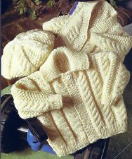 BABY CHILDS ARAN JACKETS & HAT  KNITTING PATTERN  (1108)