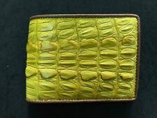 Yellow Genuine Tail Alligator Crocodile Skin Leather Men's Bifold Wallet