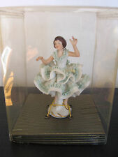 DRESDEN Girl Young Women Ballerina Green Lace Dress Figurine in Box