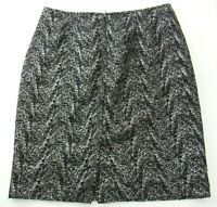 Jones New York Womens Size 6P Petite Skirt Black Grey Silver Knee Length