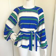 Vintage 1970s Style H&M Striped Bell Sleeve Belted Top Size S/M