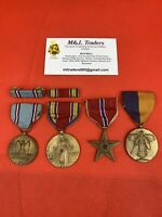 Lot Of 4 Original WWI/WW2 American Medals Bronze Star Victory Medal Good Conduct