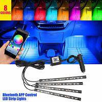 4x RGB 48 LED Strips Car Interior Floor Atmosphere Neon Light App Music Control