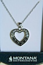 New Montana Silversmiths Necklace Barbed Wire Heart ~w~ CZ's NC3059 Holiday $ale