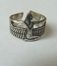 Egyptian Sterling Silver Winged Isis Expandable Oxodized Ring