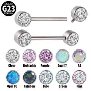 2PC Titanium Zirconia Opal Nipple Barbell Ring Sexy Nipple Piercing Body Jewelry