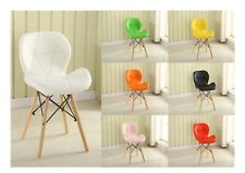 DSW Chair Butterfly Shape PU Leather Eiffel Style Wood Leg Office Dining Kitchen