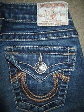 True Religion Size 25 Straight Leg Section Rainbow Billy Dark Blue Stretch Denim
