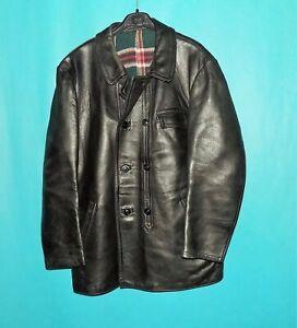 veste de brasseur vintage GRAULHET TCB année 1980 cuir noir doublé laine t XL