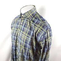 Thomas Dean Button Front Shirt Sz Large L/S Blue Green Plaid Check Cotton A40-05