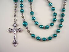 """Womens Rosary Catholic 20 1/4""""  Teal Grn Czech Glass Pearls Las Mujeres Rosario"""