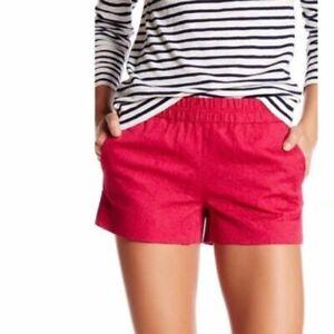 "J. Crew Women's Size 4 Boardwalk Pull On Shorts Elastic Waist Pocket 3"" Red"