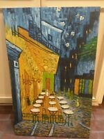 Large Original Signed Canvas Oil Painting 21x33 French Impressionist Bistro Cafe