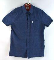 Ben Sherman Original MenS Button Front Shirt Size Medium Blue Short Sleeve