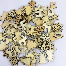 50Pcs Natural Wood Christmas Ornament Xmas Tree Mini Decor Reindeer Snowflakes