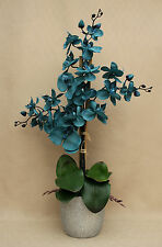 ARTIFICIAL SILK 3 STEMS TEAL MOTH ORCHID & LEAFS IN SILVER GLITTER CERAMIC POT