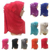 Muslim Women Floral Beaded Hijab Amira Head Full Cover Wrap Scarf Islamic Hats