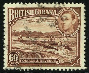 SG 315 BRITISH GUIANA 1938 - 60c RED-BROWN - USED