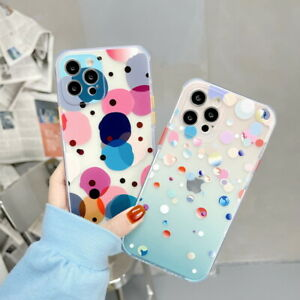 For iPhone 12 Pro Max 11 XR XS X 7 8 Plus Color Dots TPU Soft Clear Case Cover