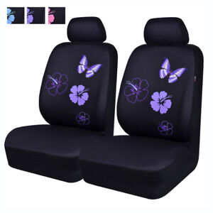 Universal Car Seat Covers Purple Butterfly For SUV Women Girls Two Front Airbag