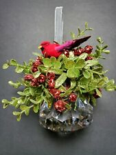 Kissing Krystal Acrylic Prism w/Red Cardinal Mistletoe Holiday Hanging Ornament