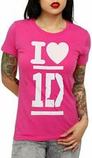 One Direction Pink Heart Girls T-Shirt, Small - NEW
