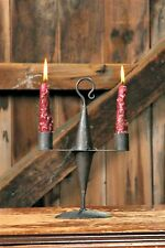 Primitive `Black` Cast Iron`Colonial Candle Holder for 2 Candles Reproduction~