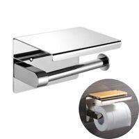 Toilettenpapierhalter mit Ablage Silber Edelstahl WC Klo Papierhalterung Rolle