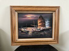 Original P. WONG Oil Painting on Canvas Seascape Nautical Junk Boats Colorful