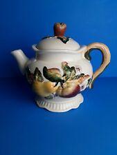 Bico Ivory China Fruit & Floral Ceramic Glazed Teapot Apple Pear Leaf (D6)