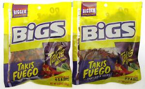 Bigs ~ Takis Fuego ~ Sunflower Seeds ~ 3.63oz bag ~ Lot of 2