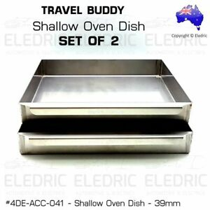 TRAVEL BUDDY ROAD CHEF KICKASS SHALLOW OVEN TRAYS SET Stainless Steel 39mm - X2