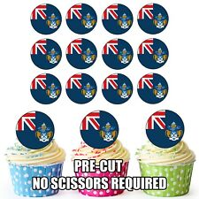 24 Circle Tristan De Cunha   Flags - Cup Cake Toppers Decorations Party Birthday