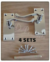 Victorian Polished Chrome Lever Scroll Latch Door Handles (4 Sets)