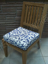 Frontgate Deluxe Double Piped Replacement Chair cushion softly elegant Cobalt