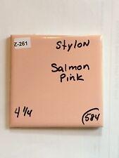 "(Z-261) 25 Pc Vintage STYLON Salmon Pink Ceramic Floor Wall Tile 4 1/4"" Glossy"