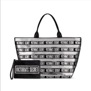 VICTORIA'S SECRET LIMITED EDITION SEQUINS BLING TOTE BAG & POUCH 2018 * NWT *