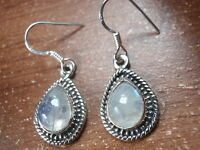 Moonstone Teardrop 925 Sterling Silver Dangle Earrings with Rope Style Accents