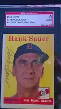 Hank Sauer Signed 1958 Topps Card #378 SGC Authentic Slabbed